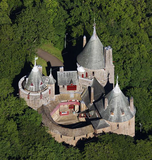 The Red Castle (Castell Coch) situated on a hillside above the village of Tongwynlais, to the north of Cardiff, Wales - www.castlesandmanorhouses.com