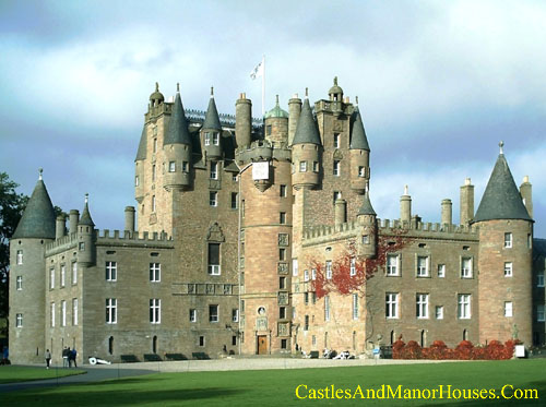 Glamis Castle is situated beside the village of Glamis, in Angus, Scotland. - www.castlesandmanorhouses.com