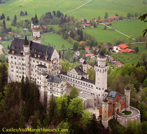 Neuschwanstein Castle, Above the village of Hohenschwangau, Bavaria, Germany. - www.castlesandmanorhouses.com