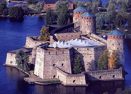 Olavinlinna (St. Olaf's Castle) in Savonlinna, Finland. It is the northernmost medieval stone fortress in Europe still standing - www.castlesandmanorhouses.com