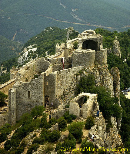 Peyrepertuse is a ruined fortress and one of the Cathar castles of the Languedoc located in the French Pyrénées in the commune of Duilhac-sous-Peyrepertuse, in the Aude département - www.castlesandmanorhouses.com
